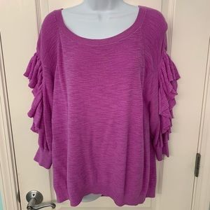 Purple express ruffle sweater